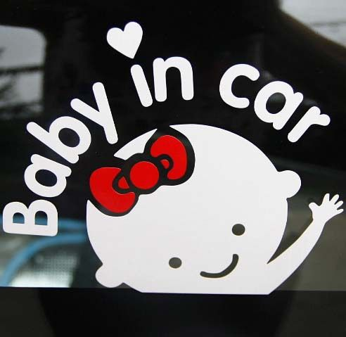 Free Shipping Cartoon Car Styling Car Stickers Baby Girl With Bow - Cool car stickers for girls