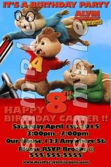 ALVIN AND THE CHIPMUNKS 4X6 INVITATIONS WITH ENVELOPES