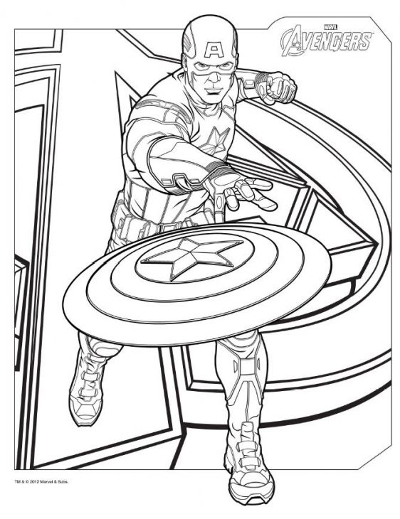 Captain America Is The Leader Of Avengers Coloring Page
