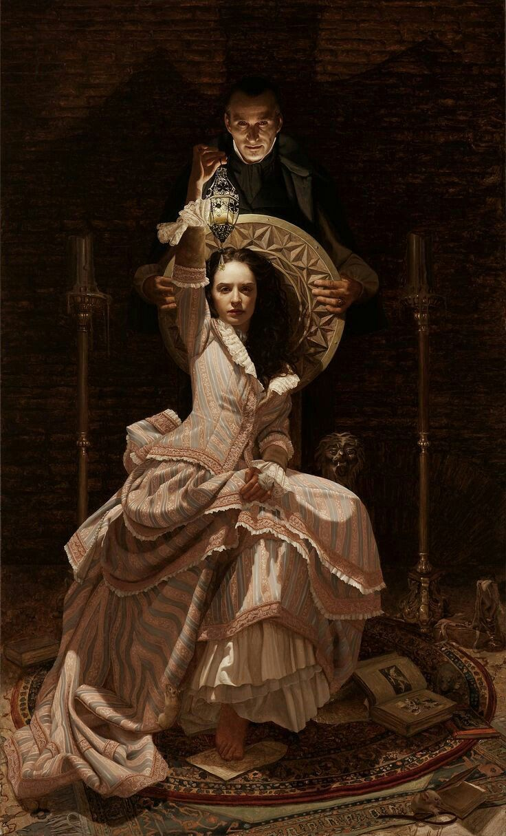 Spanish painter Arantzazu Martínez  (b. Vitoria 1966) 'Dracula' and details. Oil on canvas Neo romanticism