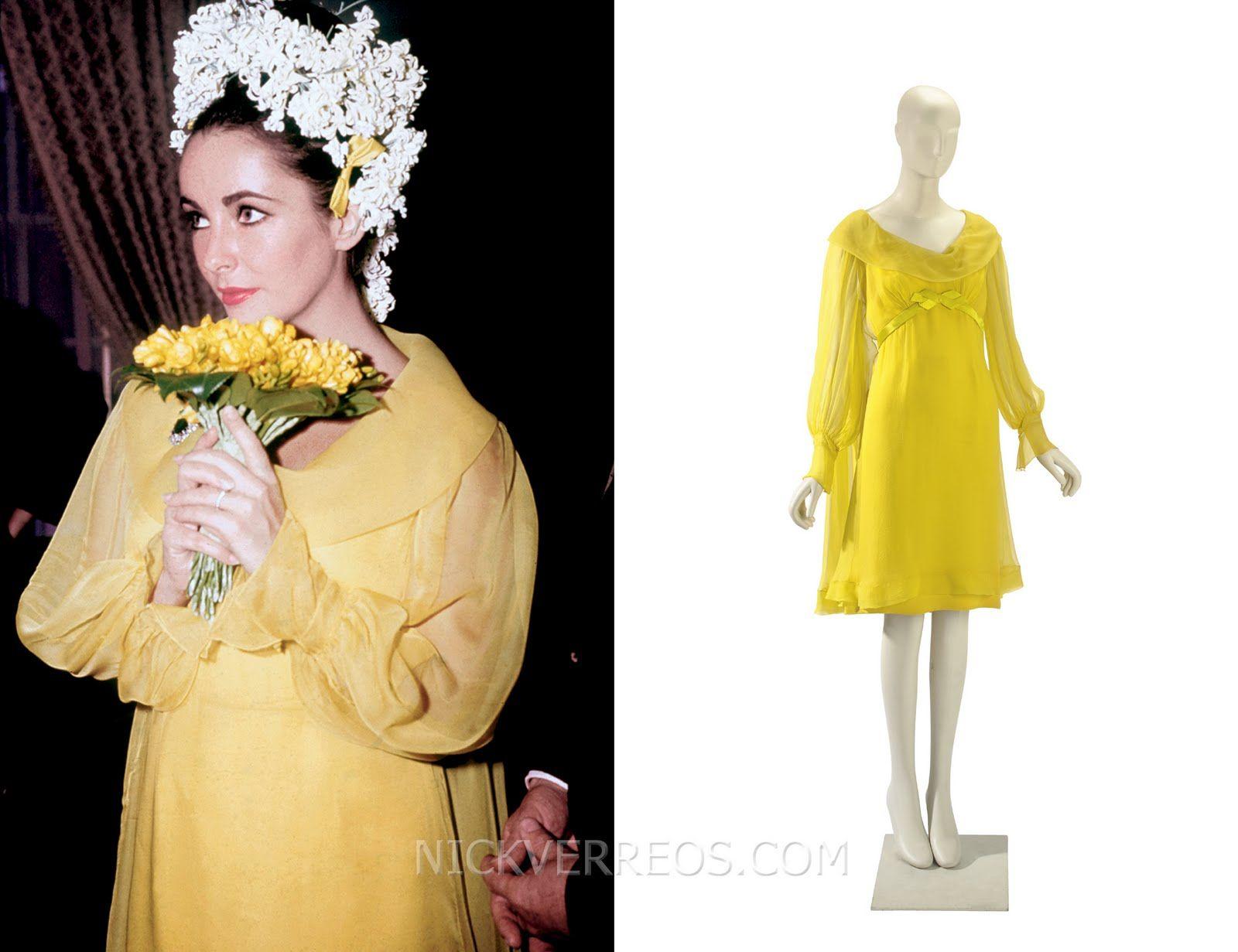 Sunflower Yellow Chiffon Wedding Dress: Designed By Hollywood Costume  Designer Irene Sharaff  Who Designed Her