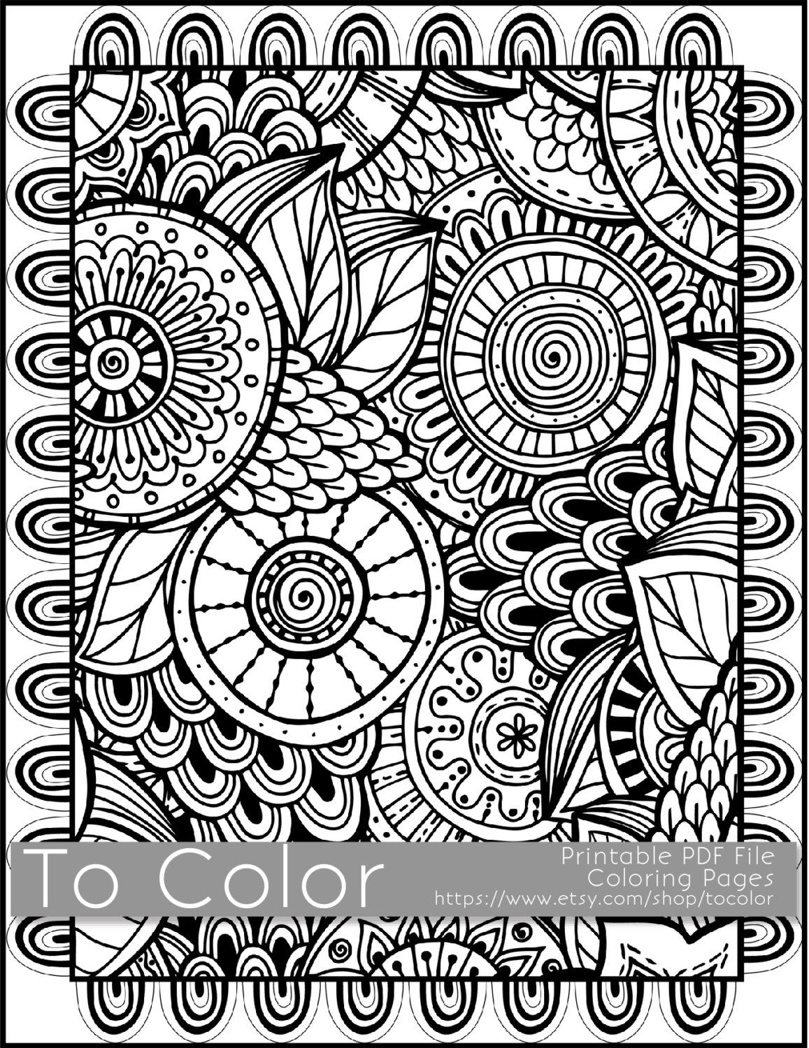 Printable Coloring Pages for Adults, All Over Large Doodle Pattern ...