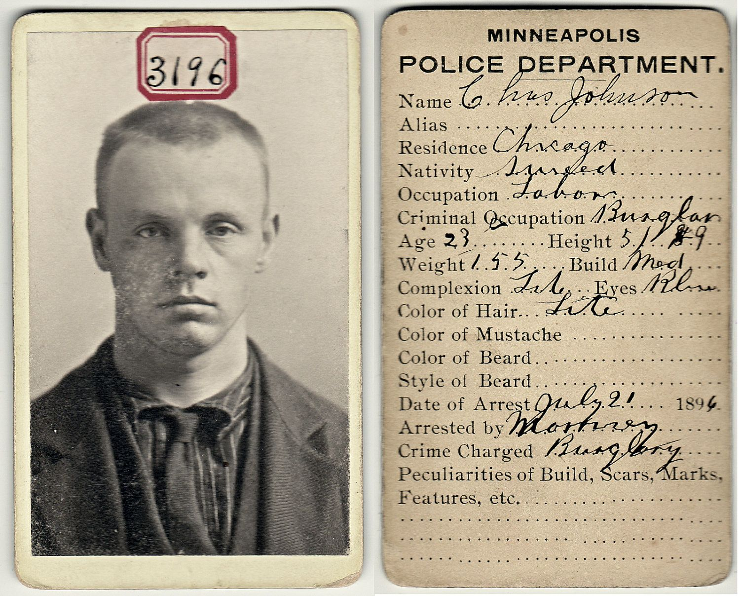 Prisoner No 3196 - Victorian Mug Shot Minneapolis - Vintage CDV Bertillon Photo - Antique Mugshot - Swedish - RESERVED for Sherwood Donahue