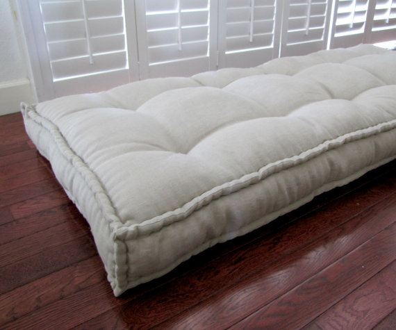 Linen Daybed Mattress Custom Cushions Tufted