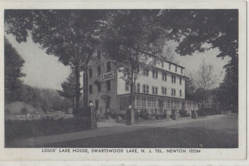 SWARTSWOOD LAKE, NEW JERSEY POST CARD SHOWING LOUIS' LAKE HOUSE, BLACK/WHITE in Collectibles, Postcards, US States, Cities & Towns | eBay