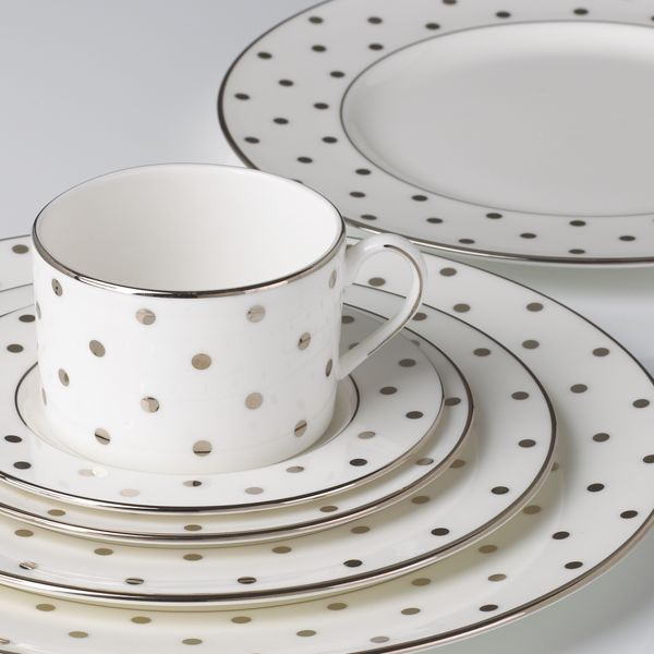 kate spade new york Larabee Road Platinum 5-pc Place Setting PLUS BONUS Rim Soup by Lenox