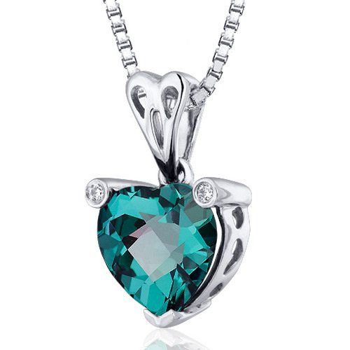 Splendid Love 2.50 carats Heart shape Sterling Silver Rhodium Finish Created Color Change Sapphire Pendant