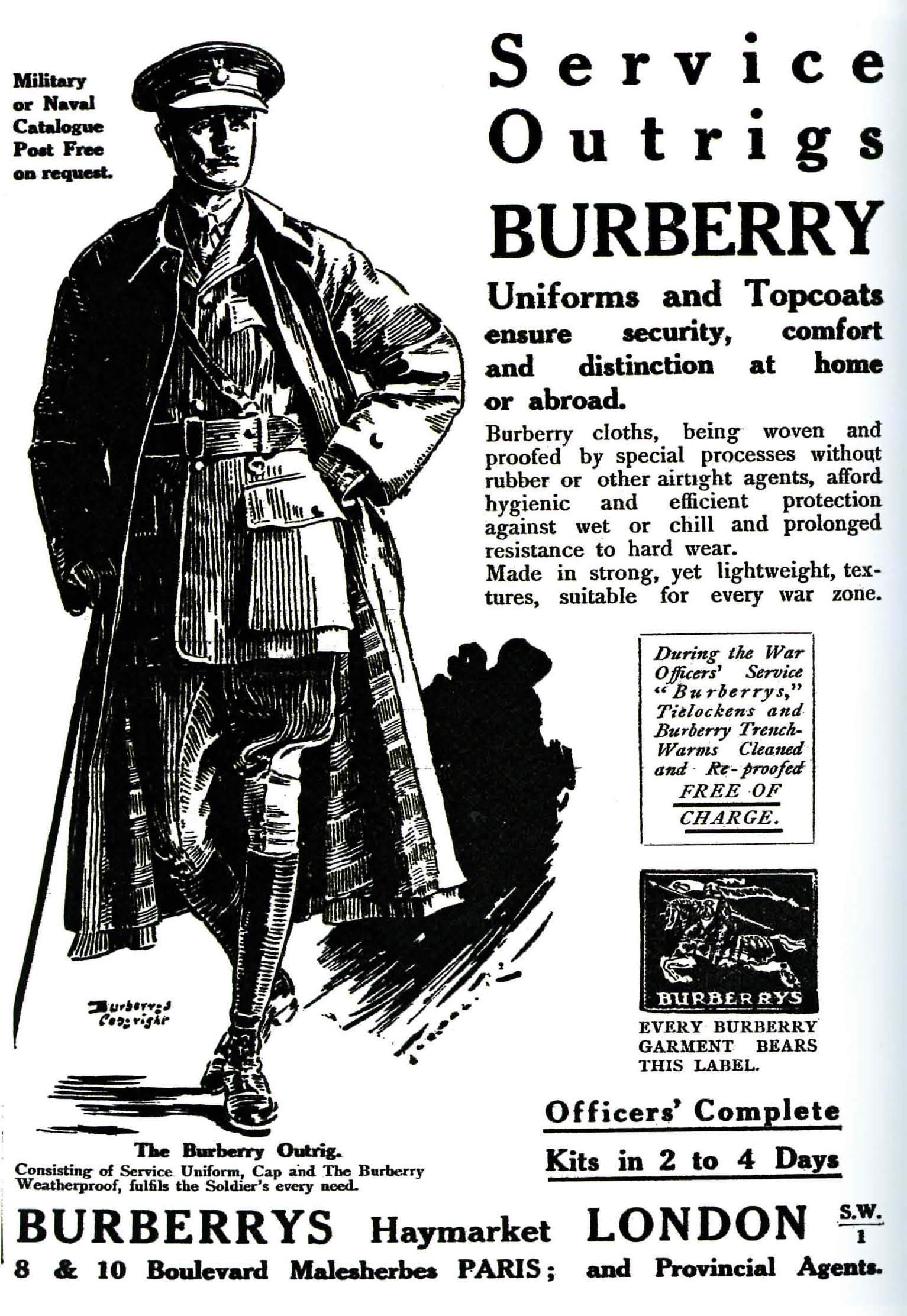 Burberry ad with the iconic trench coat from WW1