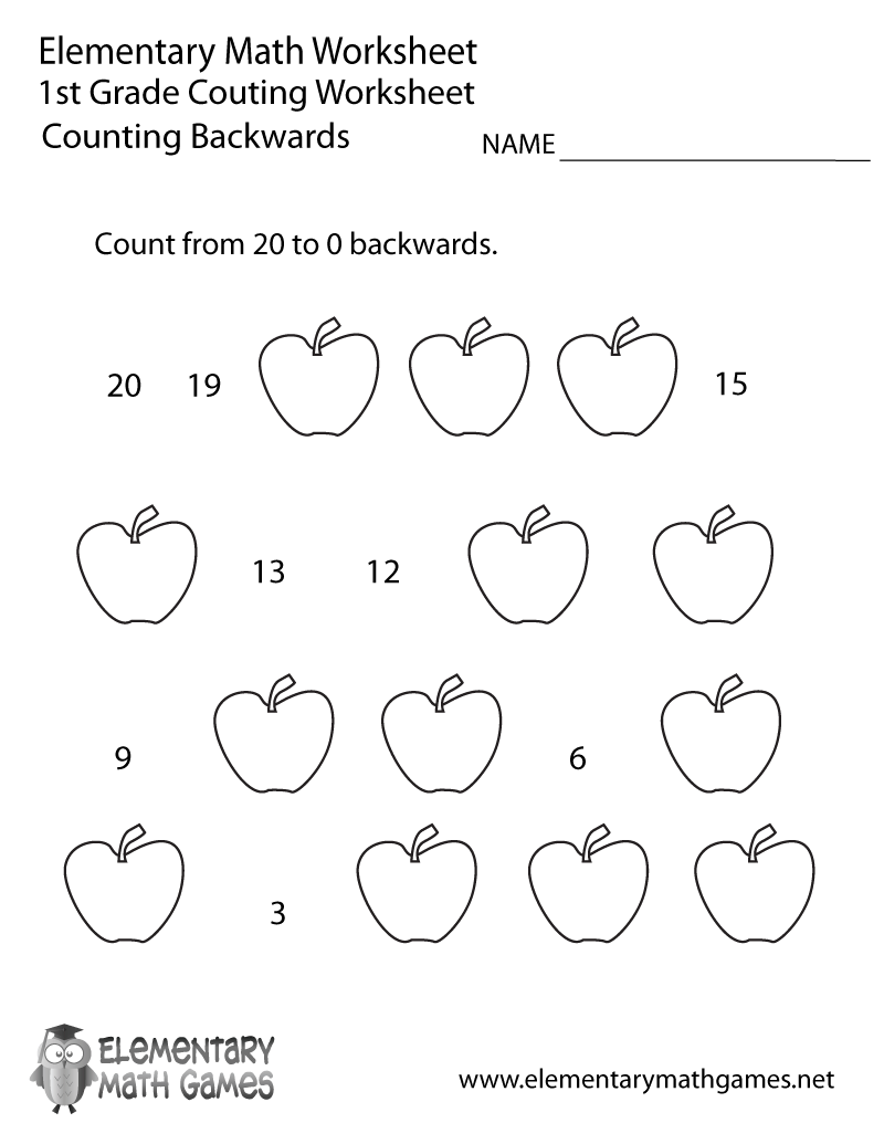 First Grade Counting Backwards Worksheet Printable | Math | Counting ...