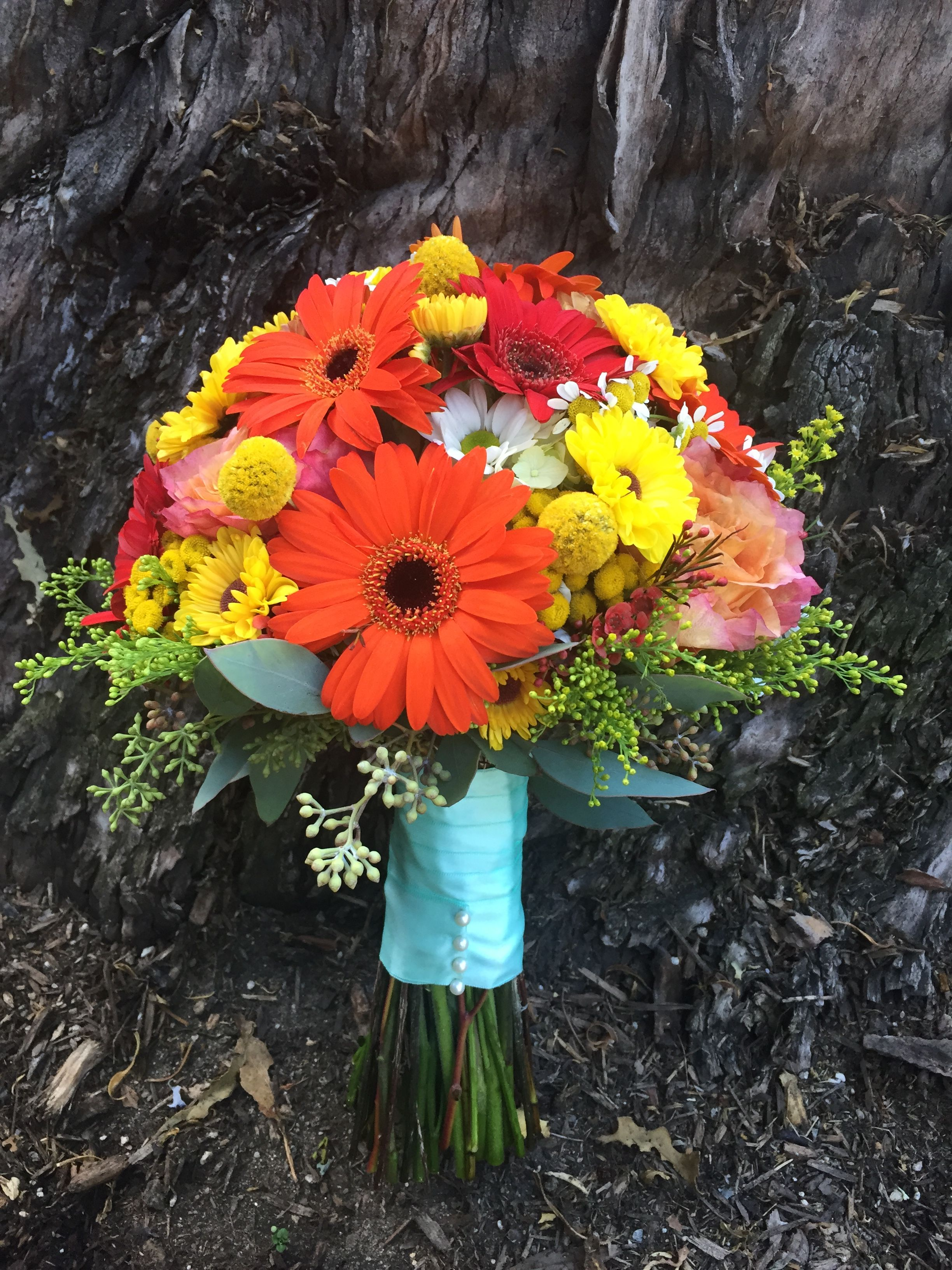 Colorful Bouquet for Betsy with Gerber Daisies, Craspedia