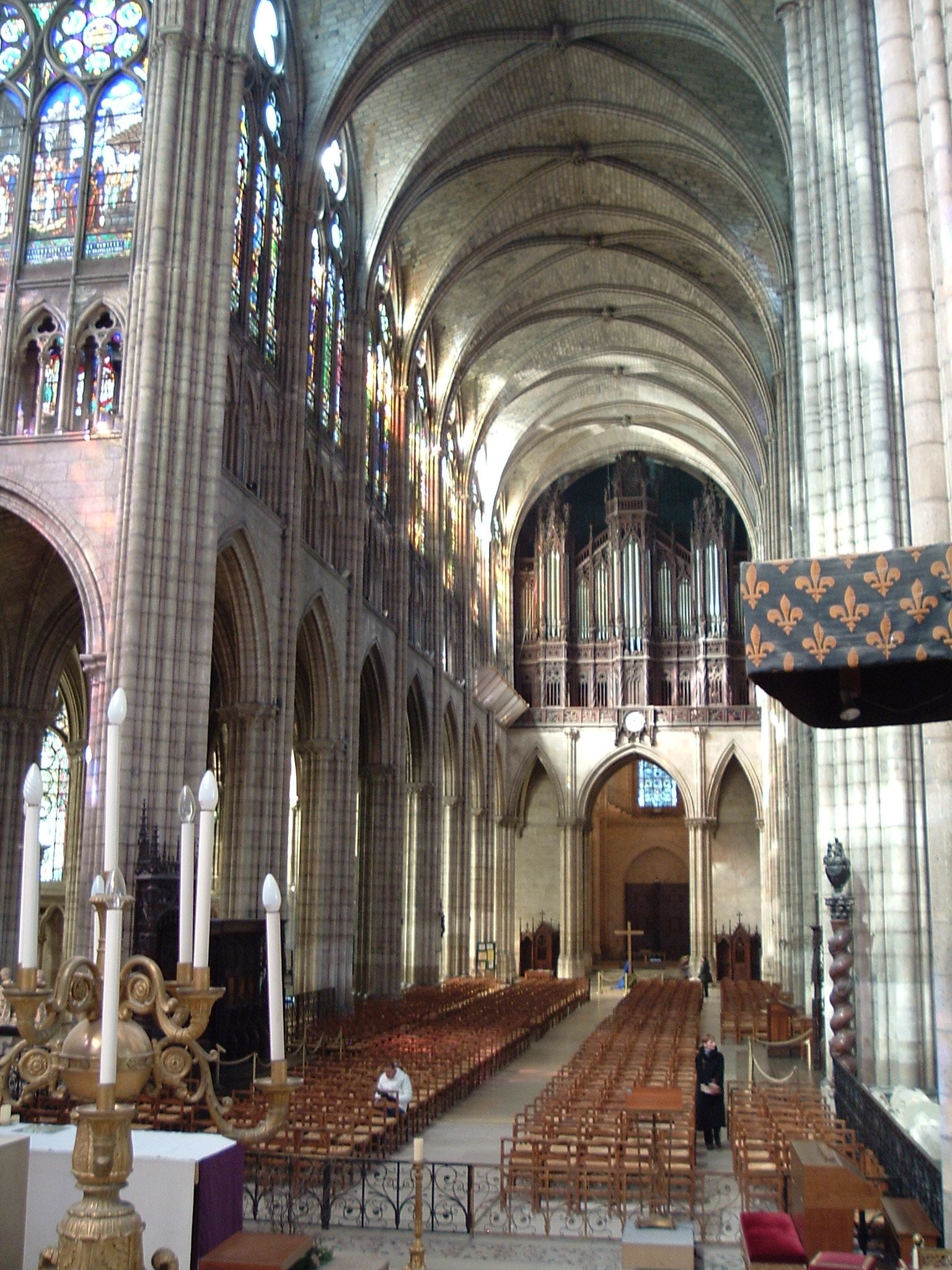 """St. Denis - nave, an early example of the """"Rayonnant"""" style of gothic architecture."""