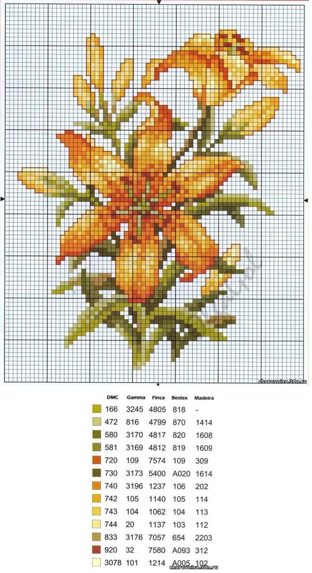 схема вышивки крестом цветов