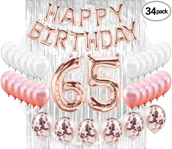 65TH Birthday Party Decorations Kit Happy Brithday Banner 65