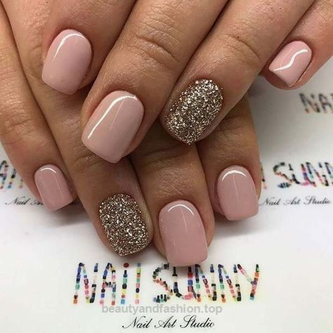 Simple Neutral and Glitter Prom Nail Design for Short Nails… - Simple Neutral And Glitter Prom Nail Design For Short Nails… Hair