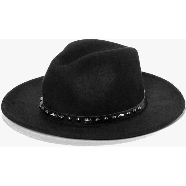Boohoo Boutique Boutique Wool Studded Western Trim Fedora (78 BRL) ❤ liked on Polyvore featuring accessories, hats, black, brimmed hat, wool beanie hat, wool brim hat, beanie cap and wool hat