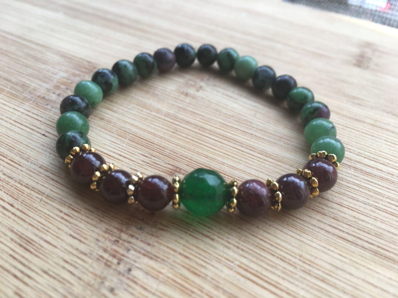 Ruby Zoisite Bracelet Fertility Jewelry Garnet Green Jade Healing Crystal Reiki Women Gift
