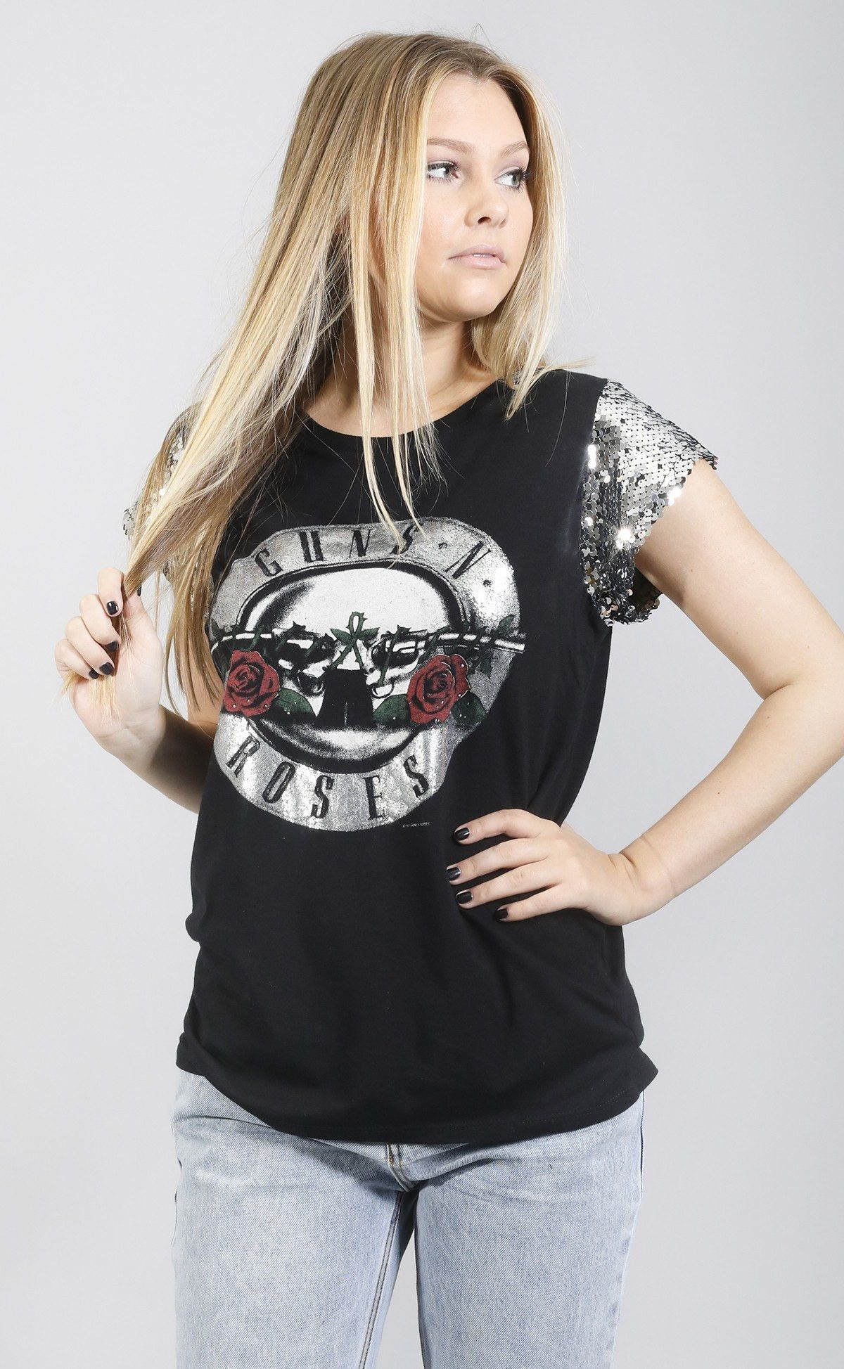 9318d1b7b daydreamer: guns 'n roses t shirt - silver sequin | Products ...