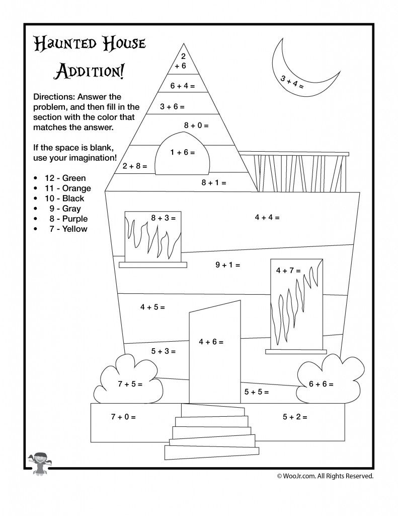 Halloween Math Worksheet Haunted House Addition Coloring Teacher Worksheets Lesson Plans Kindergarten Worksheets Fun Worksheets For Kids [ 1024 x 791 Pixel ]