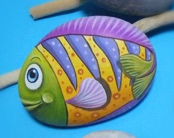 Handmade Pebble Painting Colorful fish Cute Fridge Magnet ! Painted with high quality Acrylic paints and finished with Glossy varnish.
