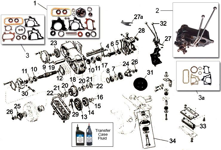 Dana Model 18 Transfer Case Parts for Jeep CJ5 & Willys