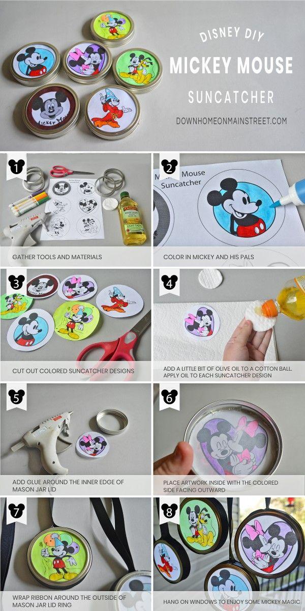 Mickey Mouse Suncatchers, a Simple Disney Craft for Kids  #disneycrafts