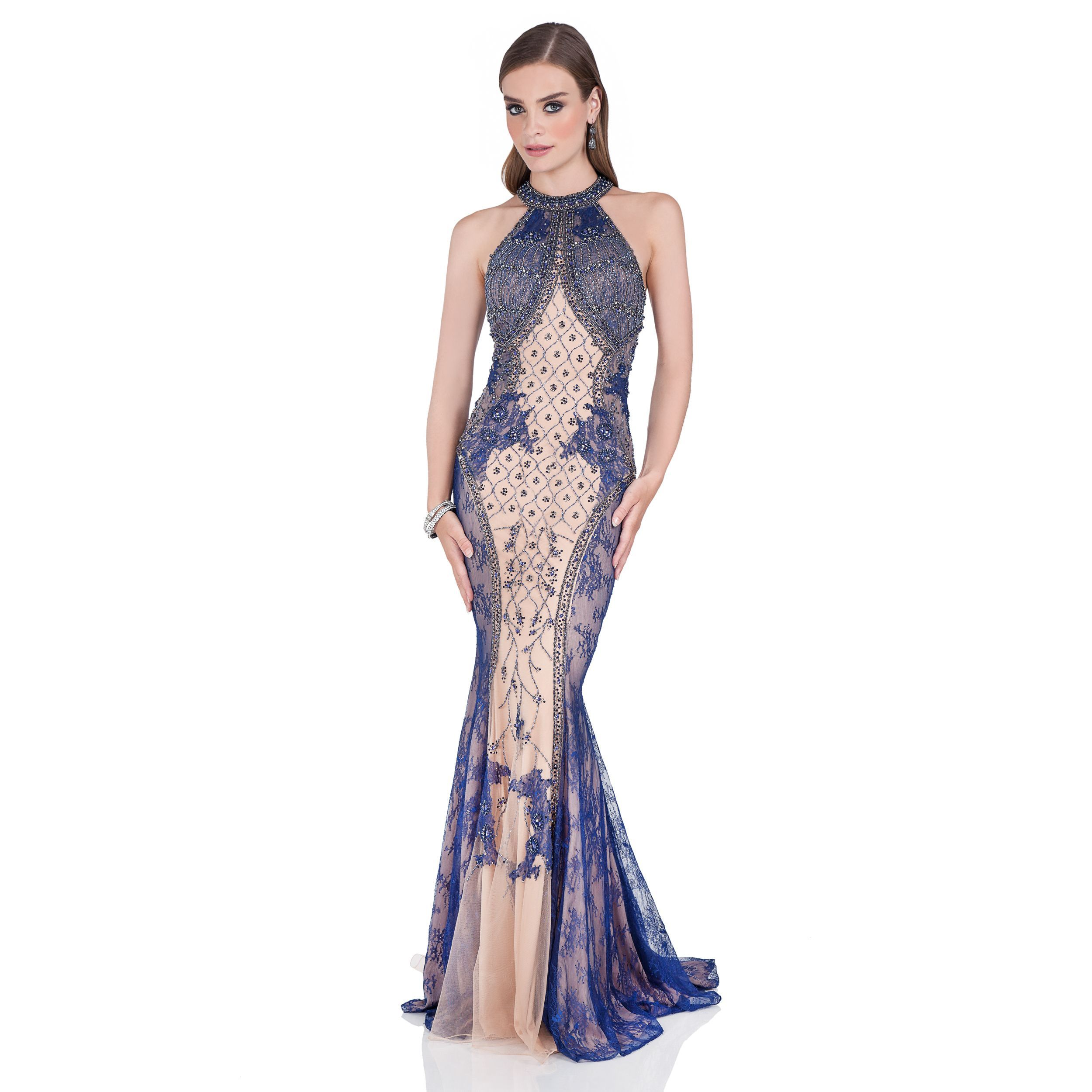 Terani couture womenus intricately beaded halter evening gown navy