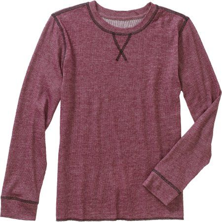 Boys' Long Sleeve Brushed Heather Knit Top, Size: S 6/7, Red