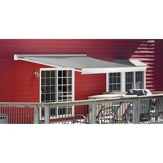 Backyard Creations Reg 12 Ft Wide X 10 Ft Projection Gray Patio Cover With Motorized Operator Backyard Creations Retractable Awning Patio Patio Awning
