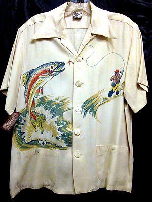 1940s Shirt Vintage Men/'s 1940s Catalina Catamaran Print Hawaiian Swim Trunks Vintage Swimwear Vintage Clothing Vintage Hawaiian Shirt