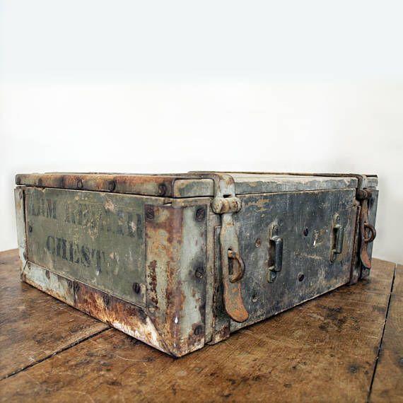 Antique Wood Storage Box WWI Armorer Repair Chest