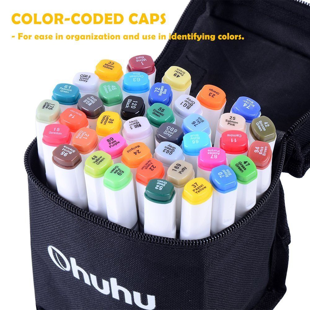 Highligh... Ohuhu 40-Color Dual Tips Permanent Marker Pens Art Markers for Kids