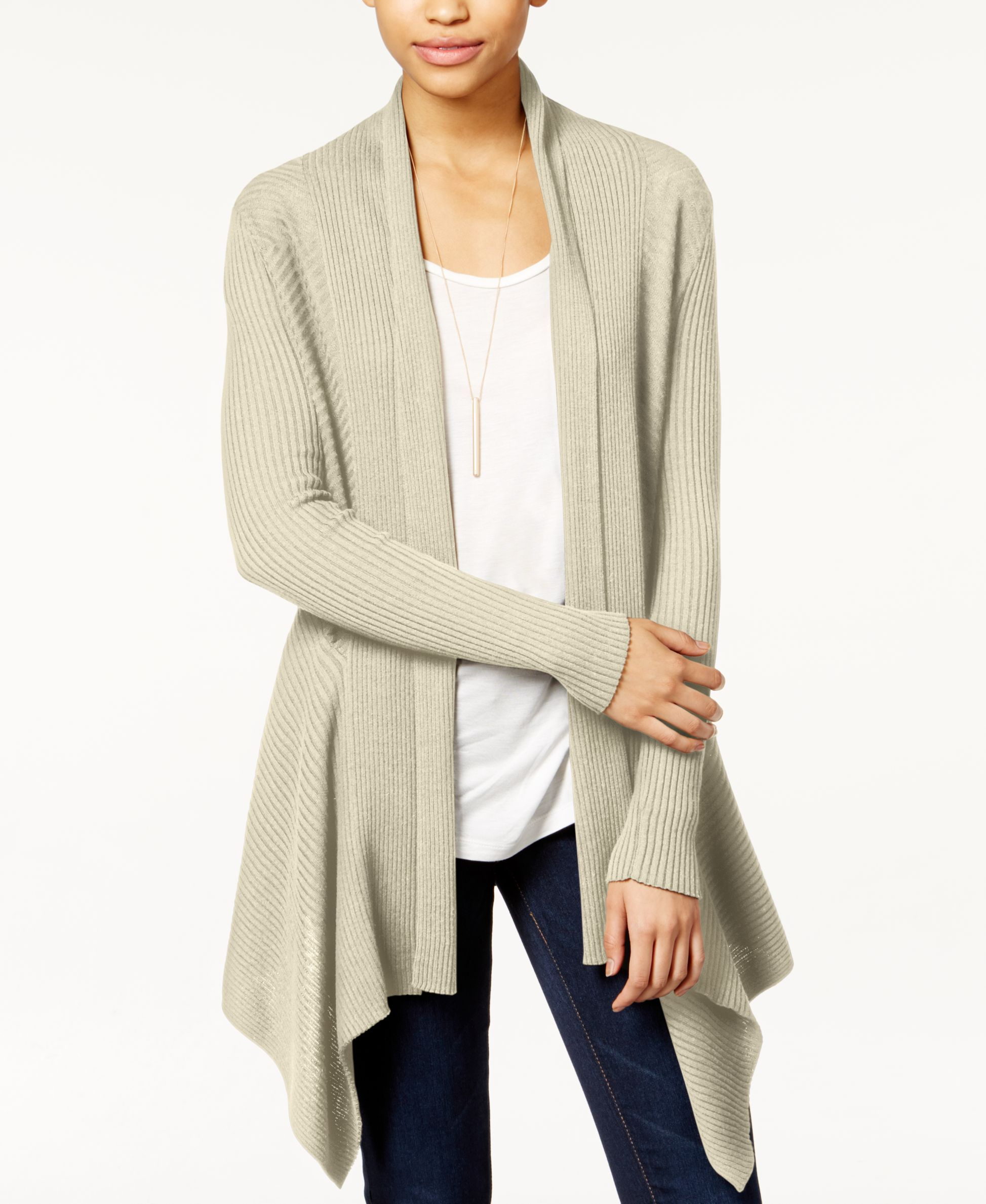 Bar III Ribbed Waterfall Cardigan, Created for Macy's | Products