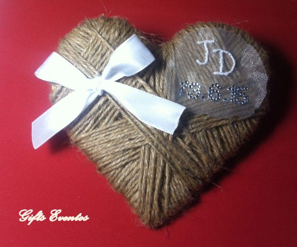 Porta alianzas personalizado corazon de cuerda www.giftseventos.es