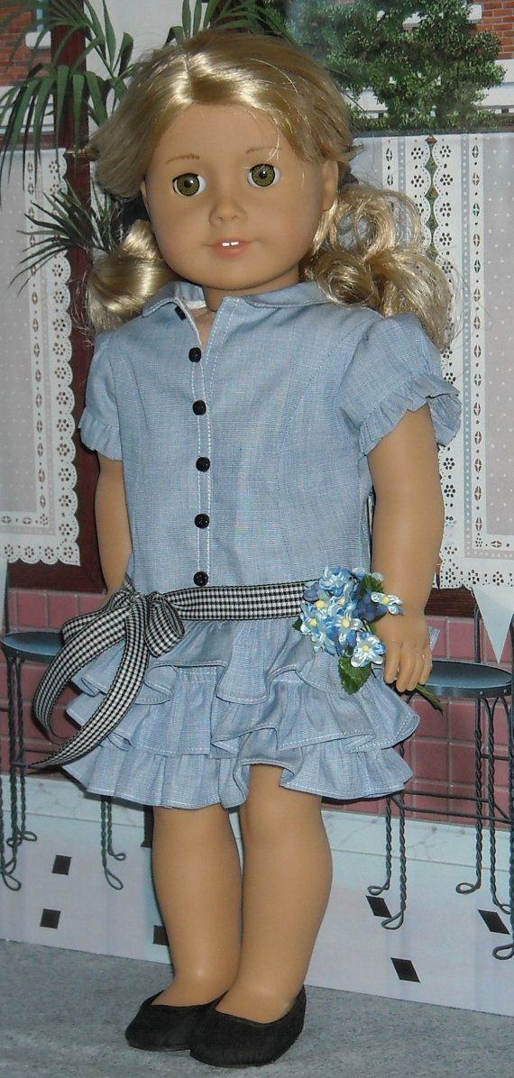 Ruffled Shirtdress for 18 Dolls by SugarloafDollClothes on Etsy