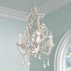 Leila white clear swag plug in chandelier at homefannie a cascade of clear glass and glass beads sparkle with this charming plug in swag chandelier high x wide x canopy is 4 wide x hang weight of lbs aloadofball Images
