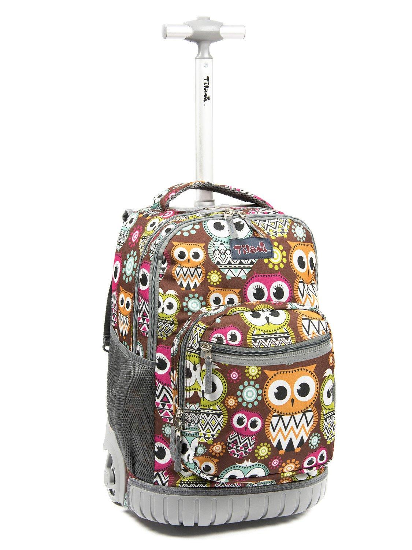60c5f56736 Tilami Rolling Backpack Armor Luggage School Travel Book Laptop 18 Inch  Multifunction Wheeled Backpack Big Eyes Owl