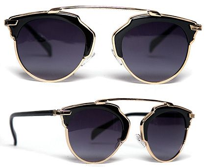 ZooShoo Retro Vision Sunglasses in black and gold, $22 (Dior So Real dupe)