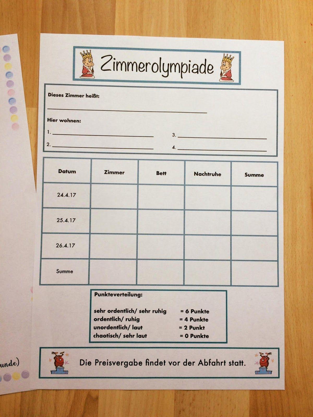 Klassenfahrt - To - do Liste und Zimmerolympiade | School ...