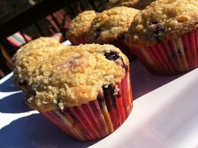Blueberry-lemon muffins with turbinado crumb topping