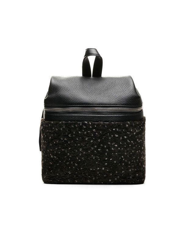 5efa57836a Kara Small Shearling Leather Black Speckled Backpack Breifcase Bag ...