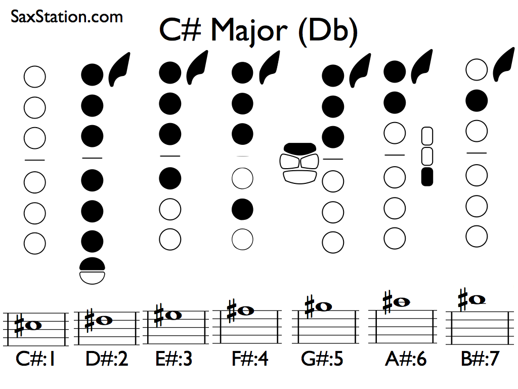 Saxophone Fingering Chart For C Db Major Scale  Saxophone Scale