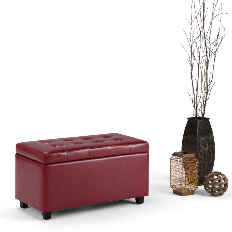 Simpli Home Cosmopolitan Faux Leather Storage Bench