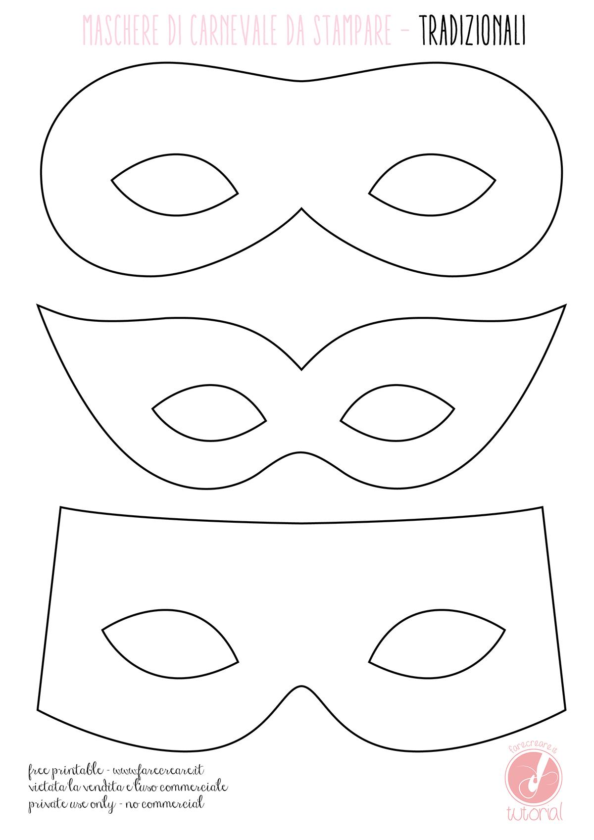 Maschere di carnevale da colorare tradizionali for Maschere di animali di carnevale da colorare