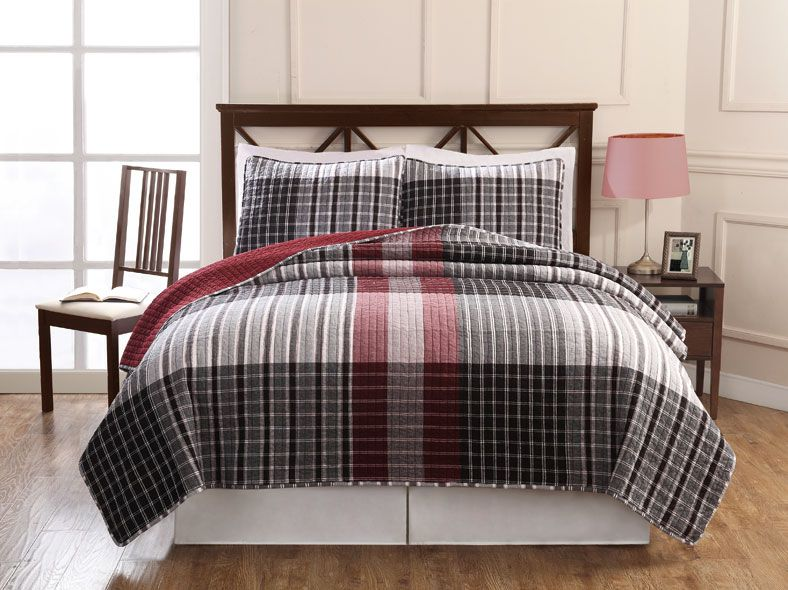 Black And Red Plaid Menu0027s Quilt Sets|Teen Boys Plaid @FamilyBeddings