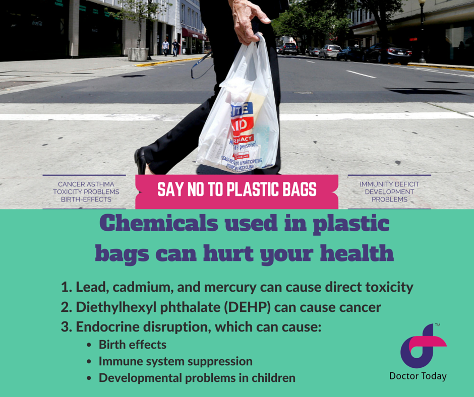 Chemicals used in plastic bags can hurt your health.  1. Direct toxicity, as in the cases of lead, cadmium, and mercury 2. Carcinogens, as in the case of diethyl hexyl phthalate (DEHP) 3. Endocrine disruption, which can lead to cancers, birth defects, immune system suppression and developmental problems in children.
