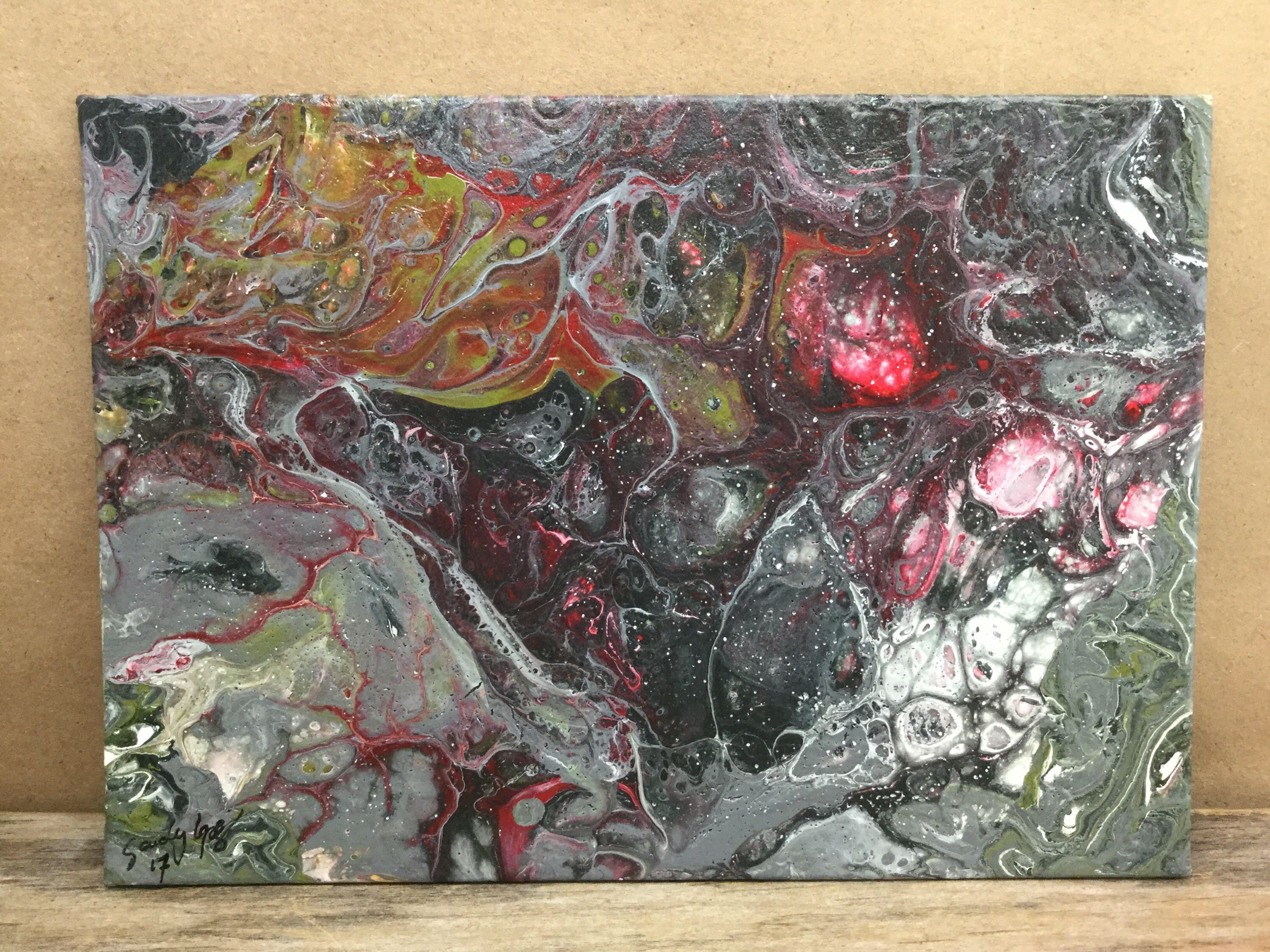 Textured acrylic pour painting clever girl Acrylic pour