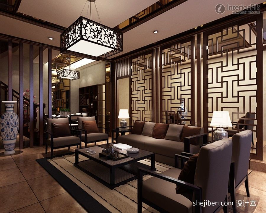 Chinese screens room dividers chinese style living room for Oriental furniture living room