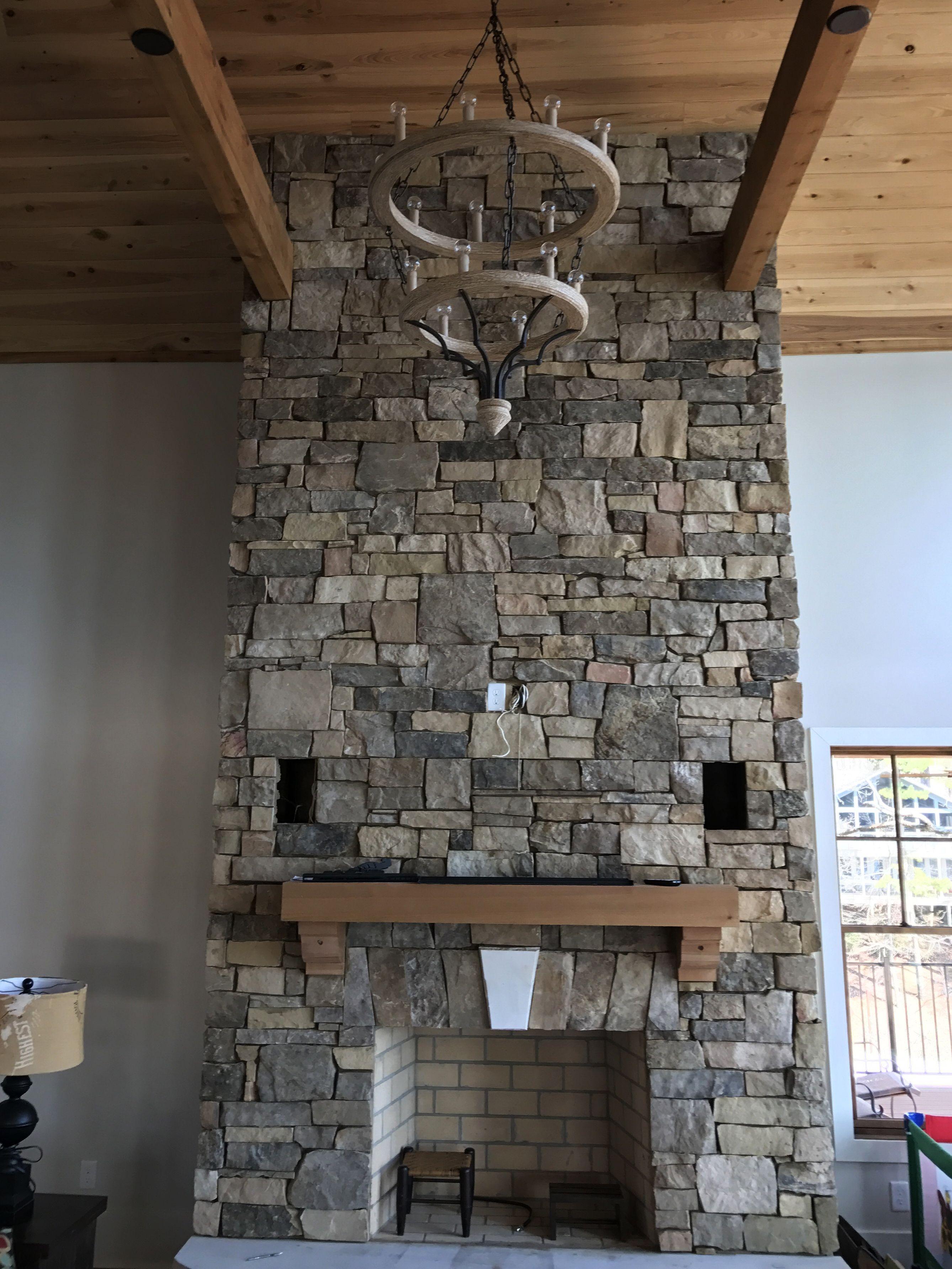 Natural stone thin veneer fieldstone medium stack ashlar mix fireplace