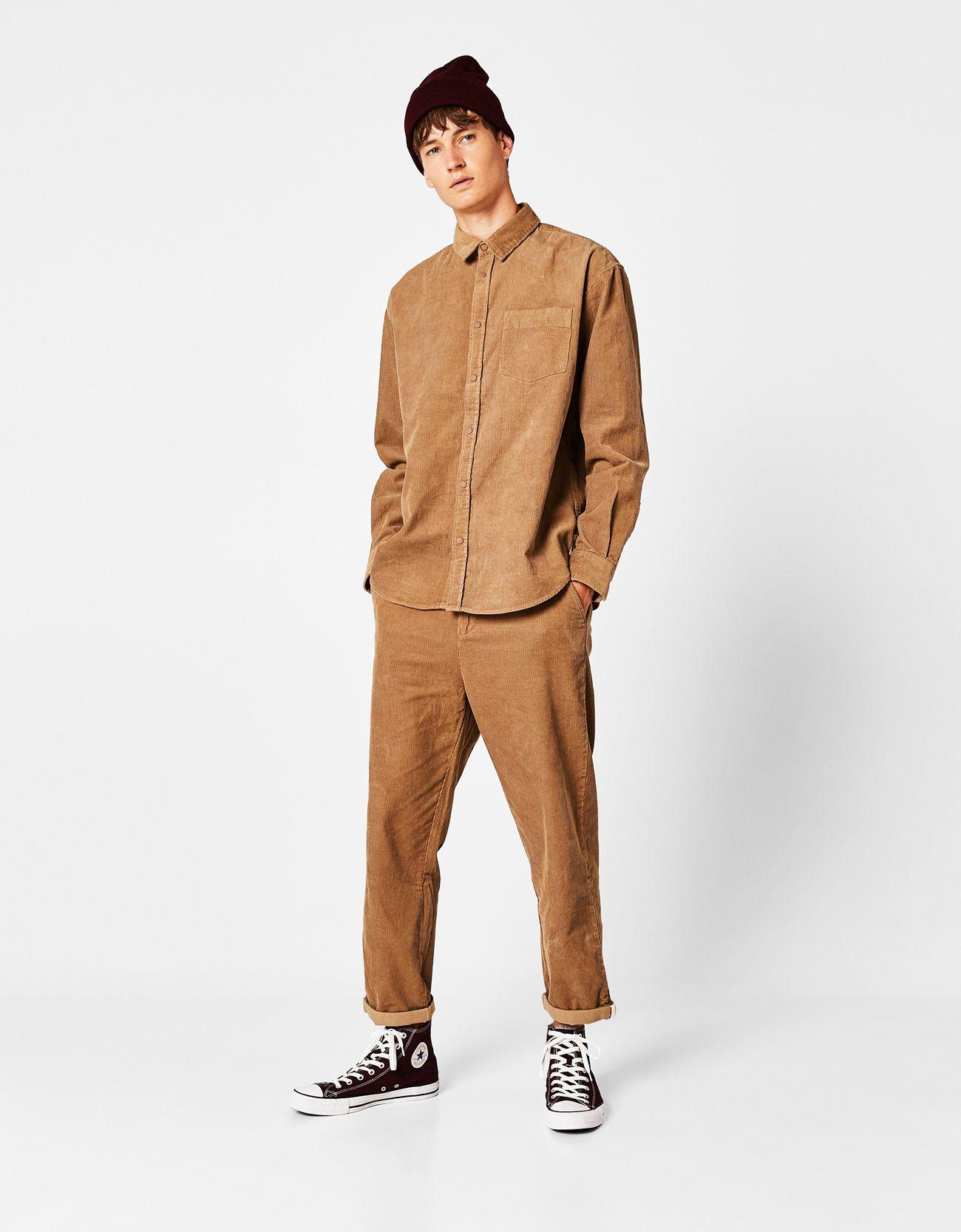 Pantalon De Pana Pantalones Bershka Espana Pantalones De Pana Pantalon Pana Hombre Pantalones Bershka