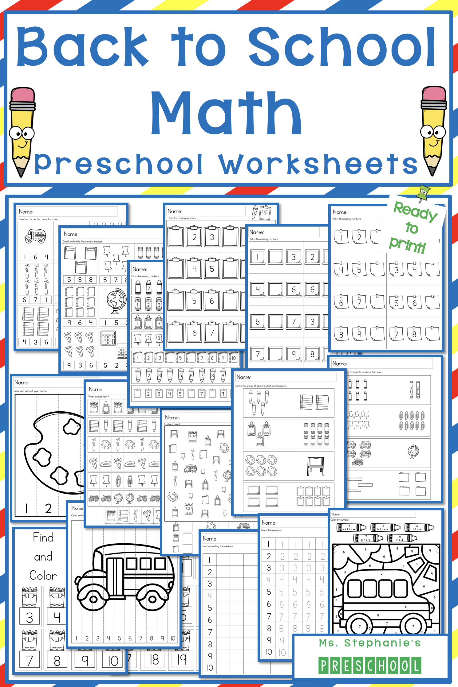 Back To School Math Preschool Worksheets In